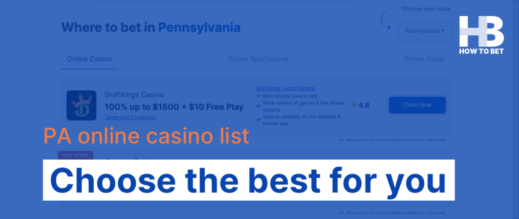 Choosing the PA online casino that works best for you