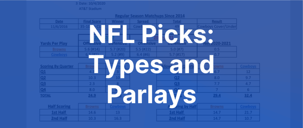 NFL Picks - Types and Parlays